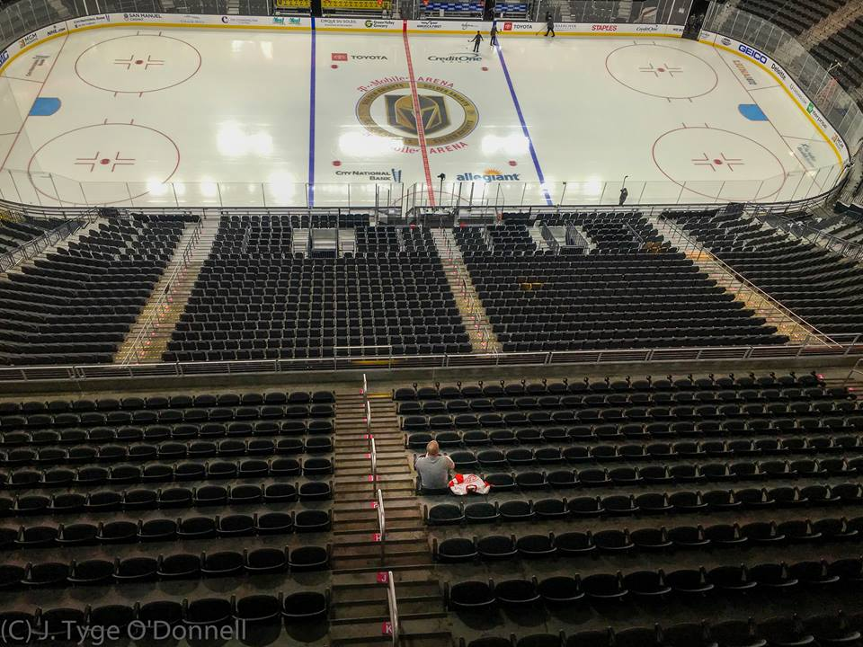 c7fcdcc6 Lee Orchard, who plays the Golden Knight, takes a quiet moment with his  late father's Detroit Red Wings jersey before the VGK-Red Wings game  Saturday night ...